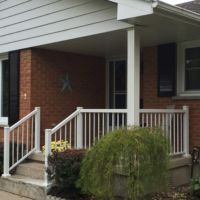 Aluminum railing installed on front porch in London, ON by Beaumart Aluminum Limited