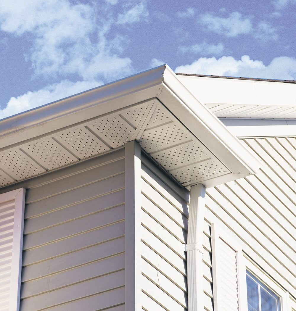Newly installed eaves on home