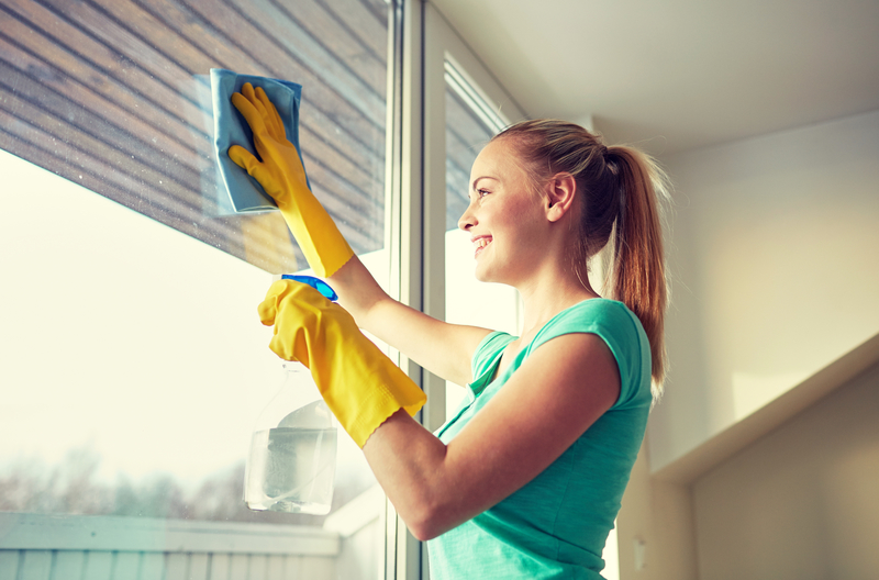 Young woman cleaning her window